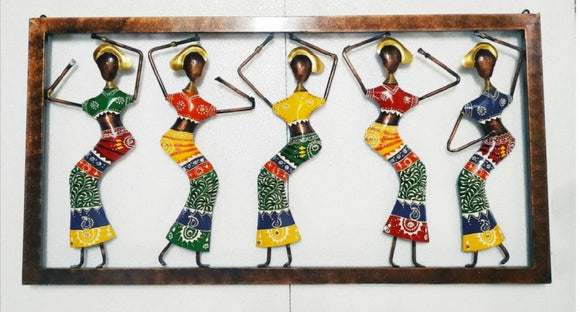 Five lady dancing figurine metal wall decor