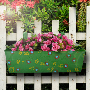 Big green metal balcony planter