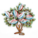 Colourful metal yoga tree LED wall art