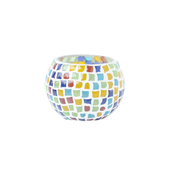 Multicolour glass mosaic tea light holder