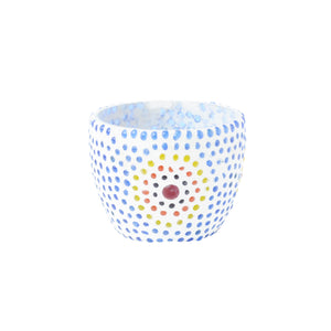 Blue glass aura tea light holder