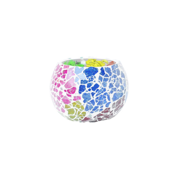 Multicolour glass tapan tea light holder
