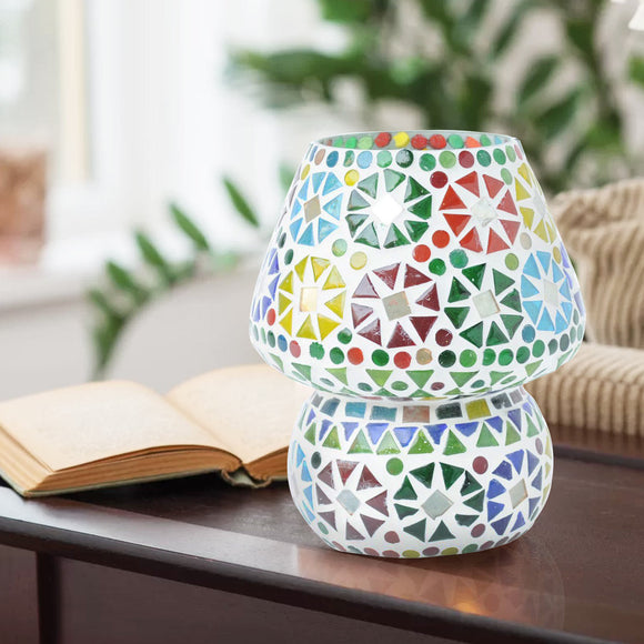 Multicolour mosaic glass table lamp
