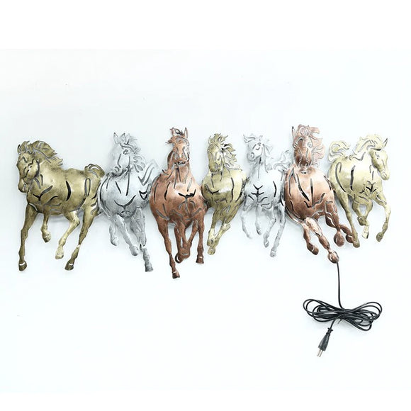 Multicolour seven running horses LED wall art