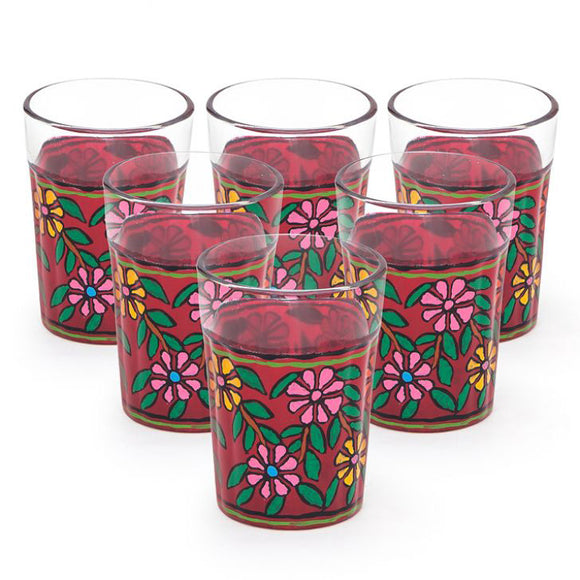 Pink flowers hand painted tea glass set of 4