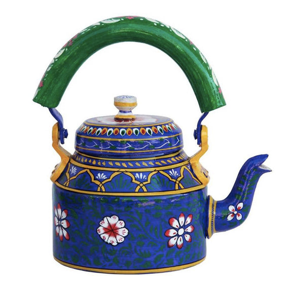 Hand Crafted  Dark Blue Tea Kettle Decorative Showpiece