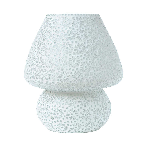 White glass handmade mushroom table lamp