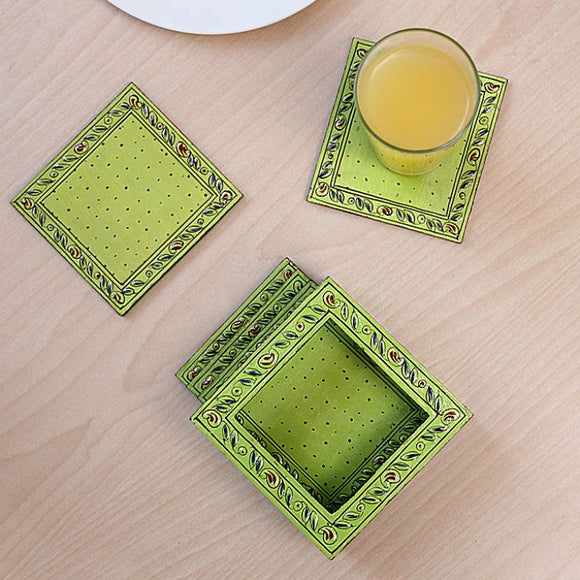 Green MDF tea coaster set of 7 pieces
