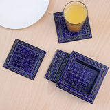 MDF blue tea coasters