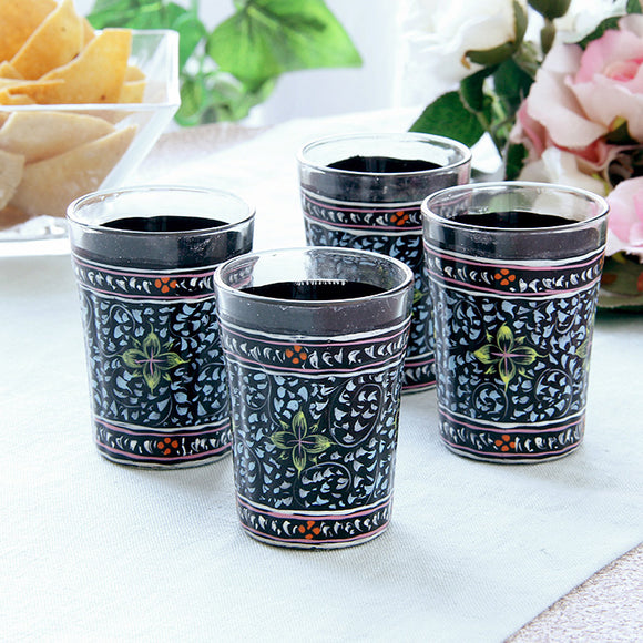 Black hand painted tea glass set of 4