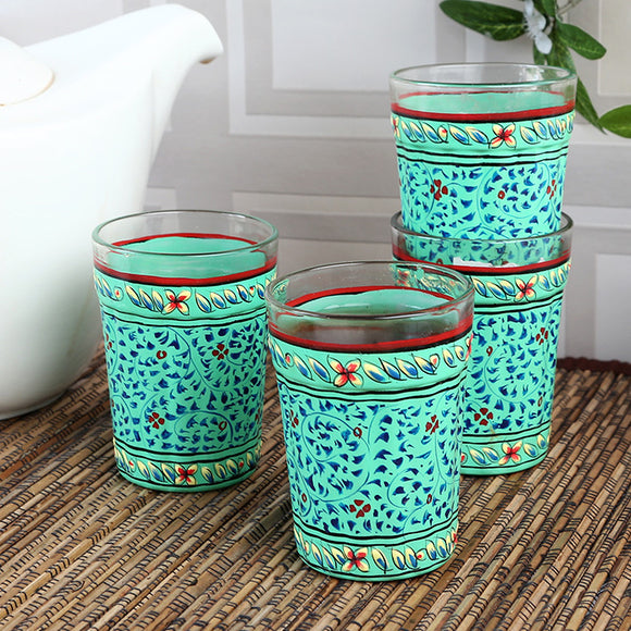 Cyan Blue Tea Glasses Set Of 4
