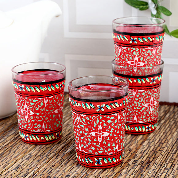 Red colour tea glass