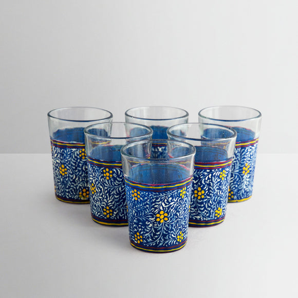 Dark blue hand painted tea glasses set of 4
