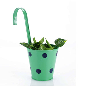 Green Polka Dots Railing Planter Pot