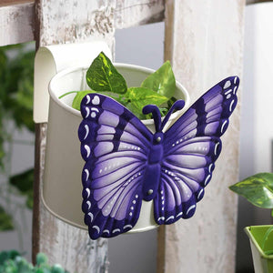 Butterfly White Metal Pot Planter