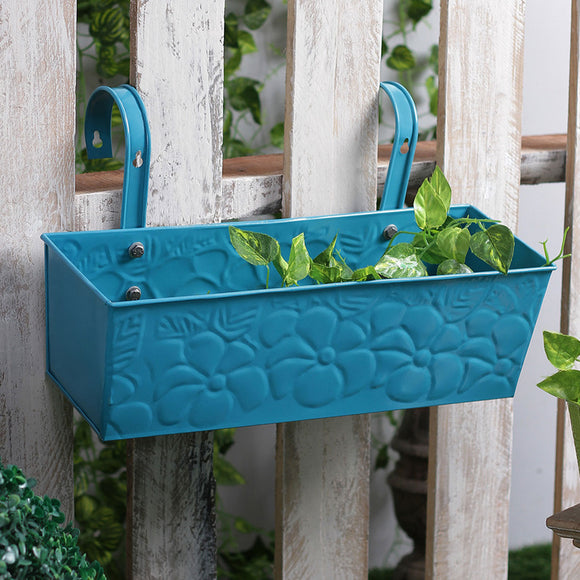 Large Blue Rectangular Plant Container
