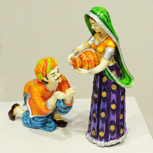 Polyresin rajasthani couples showpiece