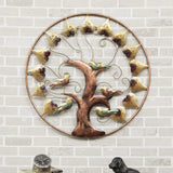 Metal Round Bird Tree Leaf Wall Art