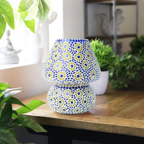 Blue multicoloured glass table lamp