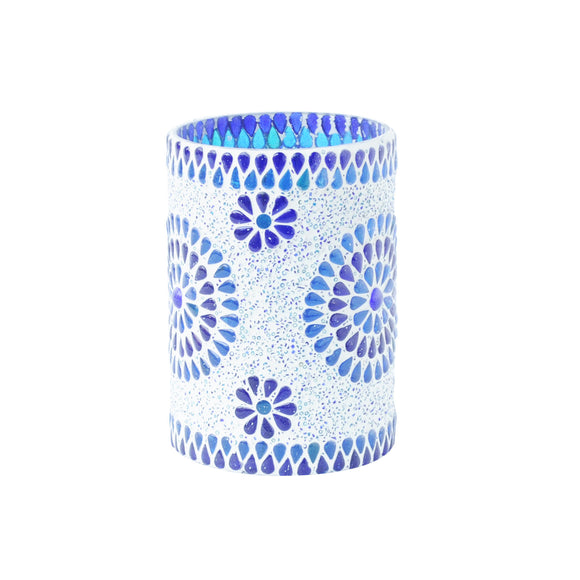 Blue glass mosaic mini table lamp