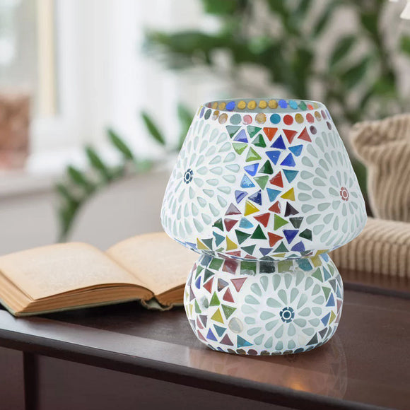 Colourful mosaic glass table lamp