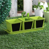 Herb Set Chalk Board Green Metal Planter