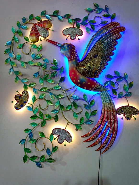 Colourful metal humming bird LED wall art