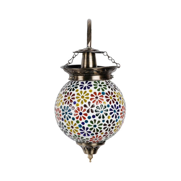 Colourful beads flower mosaic wall lamp