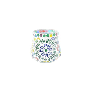 Colourful glass tea light holder