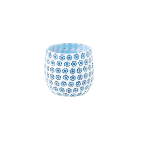 Blue mosaic glass tea light holder