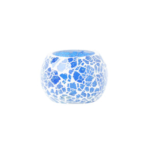 Blue Crackled Glass Tea Light Holder