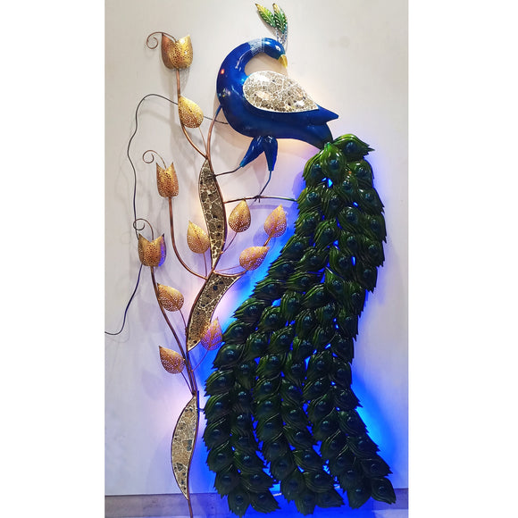 Metal LED peacock wall decor