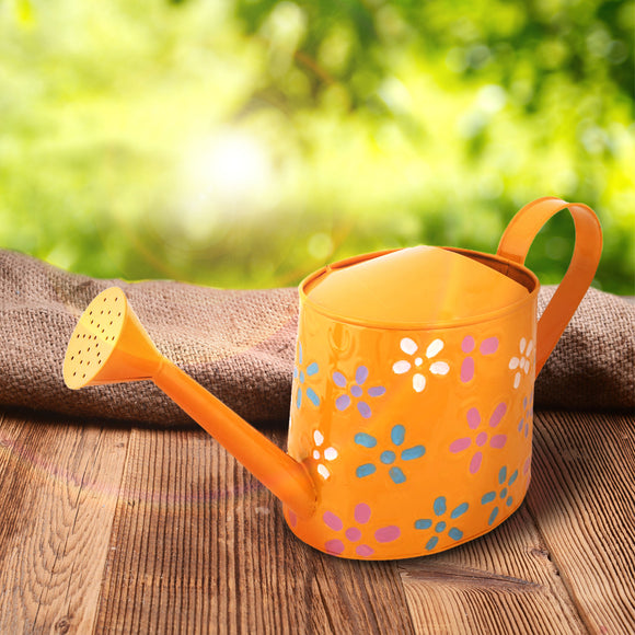 Floral yellow Hand-Painted Water Can