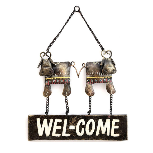 Multicolour Metal Welcome Decorative Wall Art