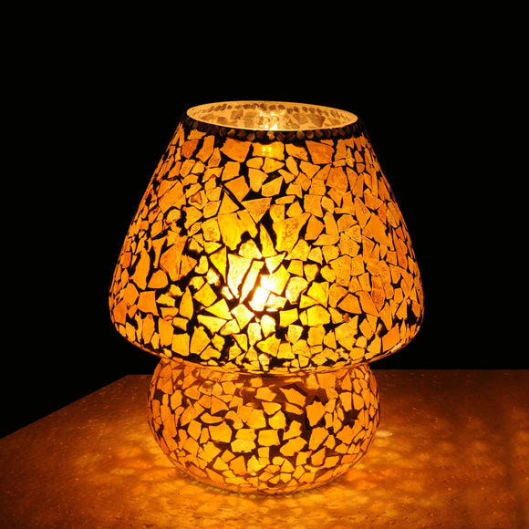 Yellow glass mosaic crackled table lamp