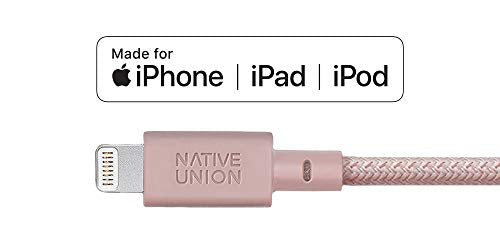 Native Union Key Cable - Ultra-Strong Reinforced [Apple MFi Certified] Lightning to USB Charging Cable with Key Fob for iPhone/iPad - Rose