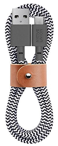 Native Union Belt 4ft USB-C to USB-A Cable with Leather Strap - Zebra
