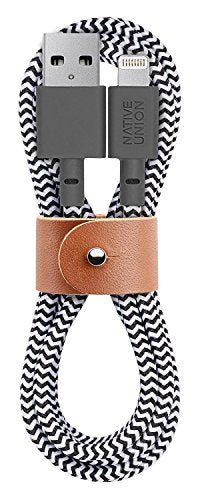 Native Union Belt 4ft Lightning Cable with Leather Strap for iPhone/iPad - Zebra
