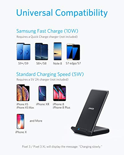Anker Wireless Charger, 10W Wireless Charging Stand, Qi-Certified