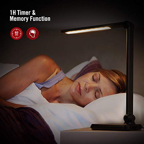 TaoTronics Dimmable LED Desk Lamp with Wireless Charger, 5 Brightness Levels, Touch Control, Timer