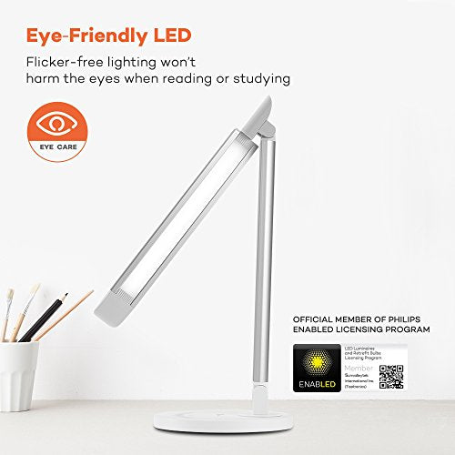 TaoTronics LED Desk Lamp with USB Charging Port, White