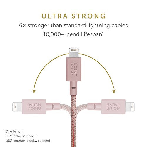 Native Union Belt XL 10ft Lightning to USB Charging Cable with Leather Strap for iPhone/iPad - Rose