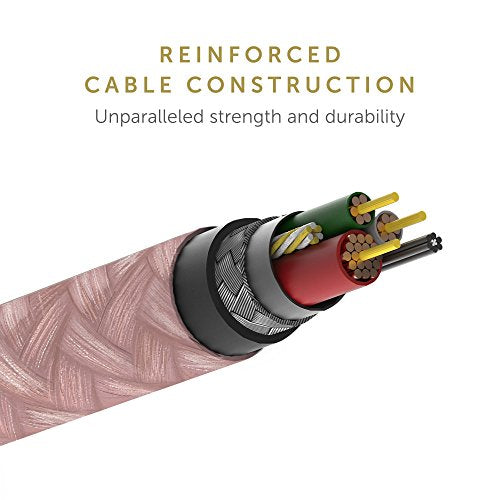 Native Union Night Cable - 10ft Ultra-Strong Reinforced [Apple MFi Certified] Lightning to USB Charging Cable with Weighted Knot for iPhone/iPad - Rose