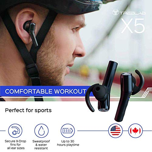 TREBLAB X5 Bluetooth Earbuds with Noise Cancelling Microphone, Siri, Waterproof IPX4 (2019 Upgrade)
