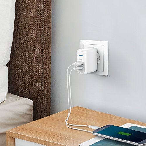 Anker Elite USB Charger, Dual Port 24W Wall Charger, PowerPort 2 with PowerIQ and Foldable Plug