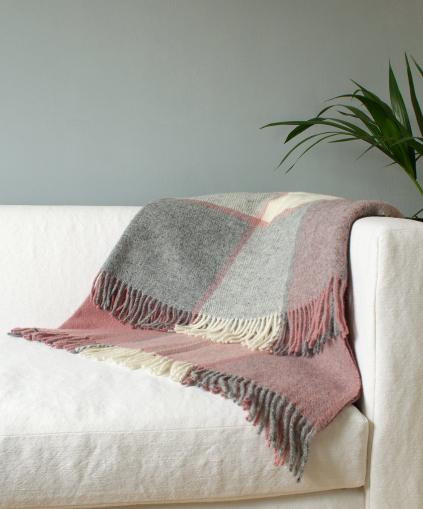 Tweedmill Charcoal & Dusky Pink Block Check Wool Blanket Throw on Sofa