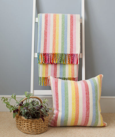 Rainbow Stripe wool throw and cushion