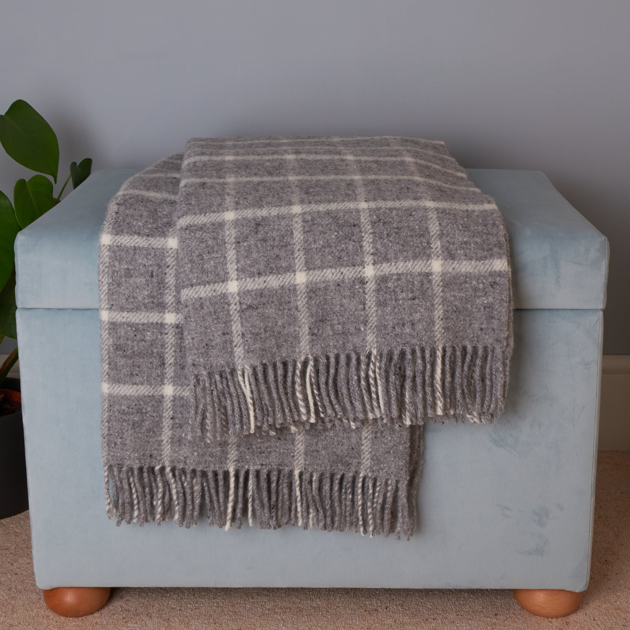 Tweedmill chequered check grey wool blanket throw