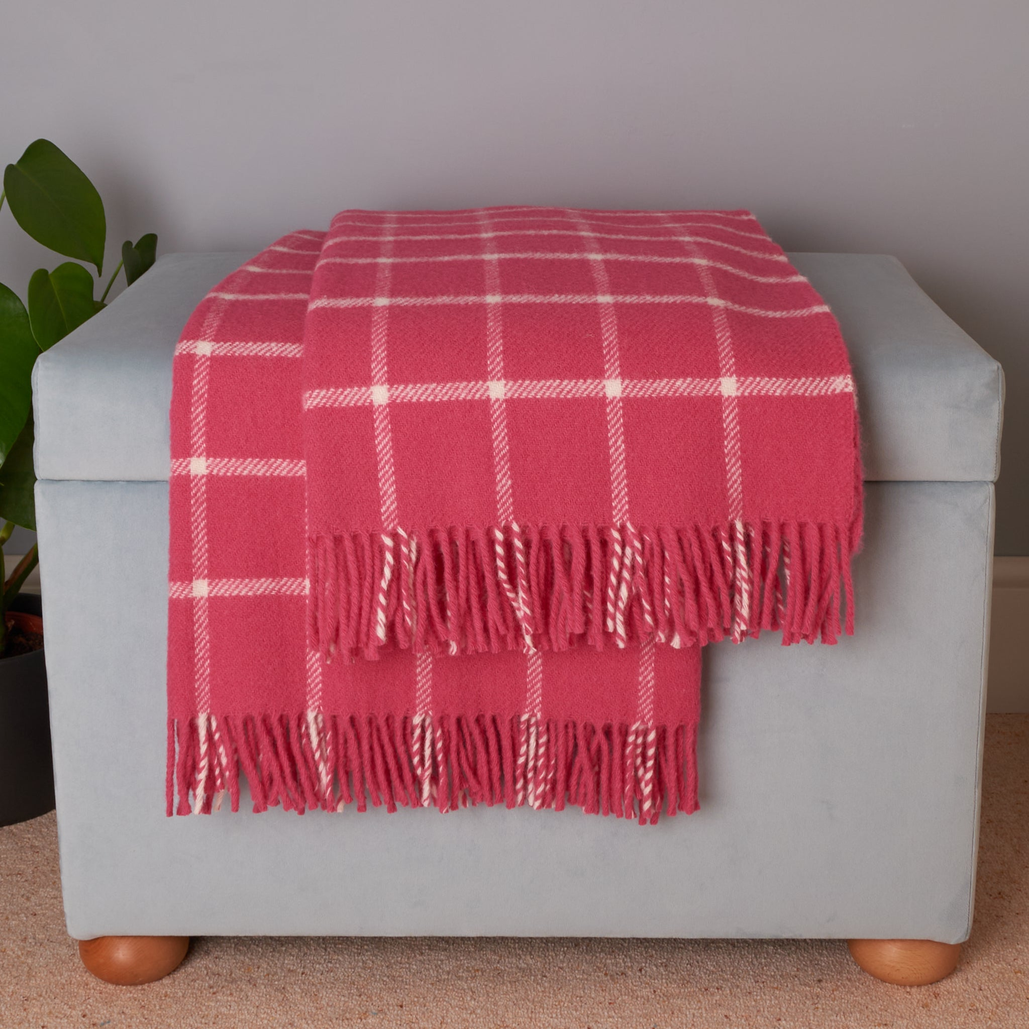 Tweedmill chequered check pink wool blanket throw