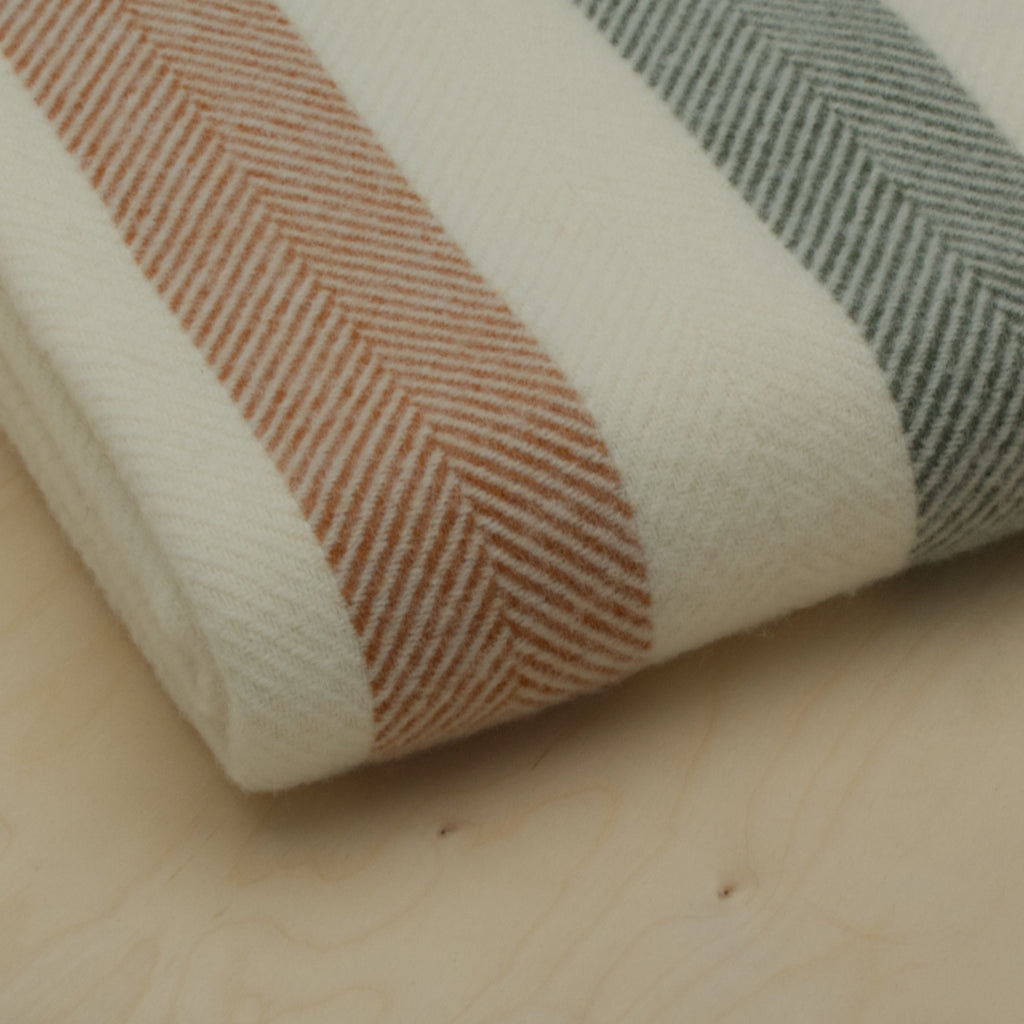 woodland stripe throw close up